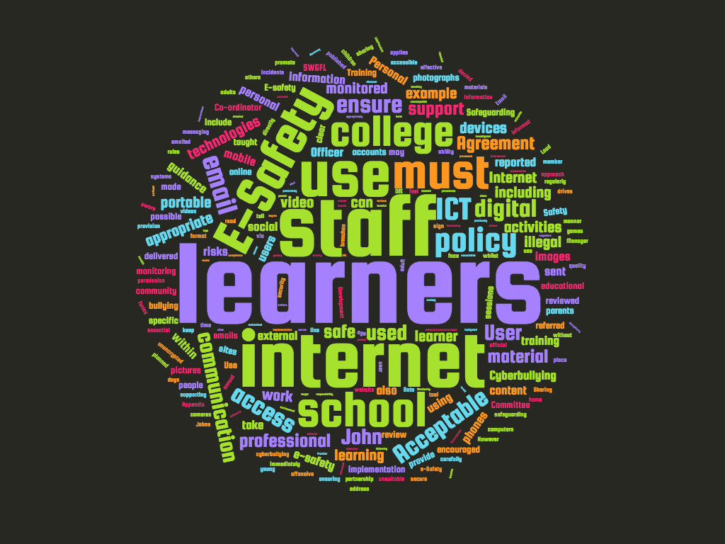 e-safety policy word cloud
