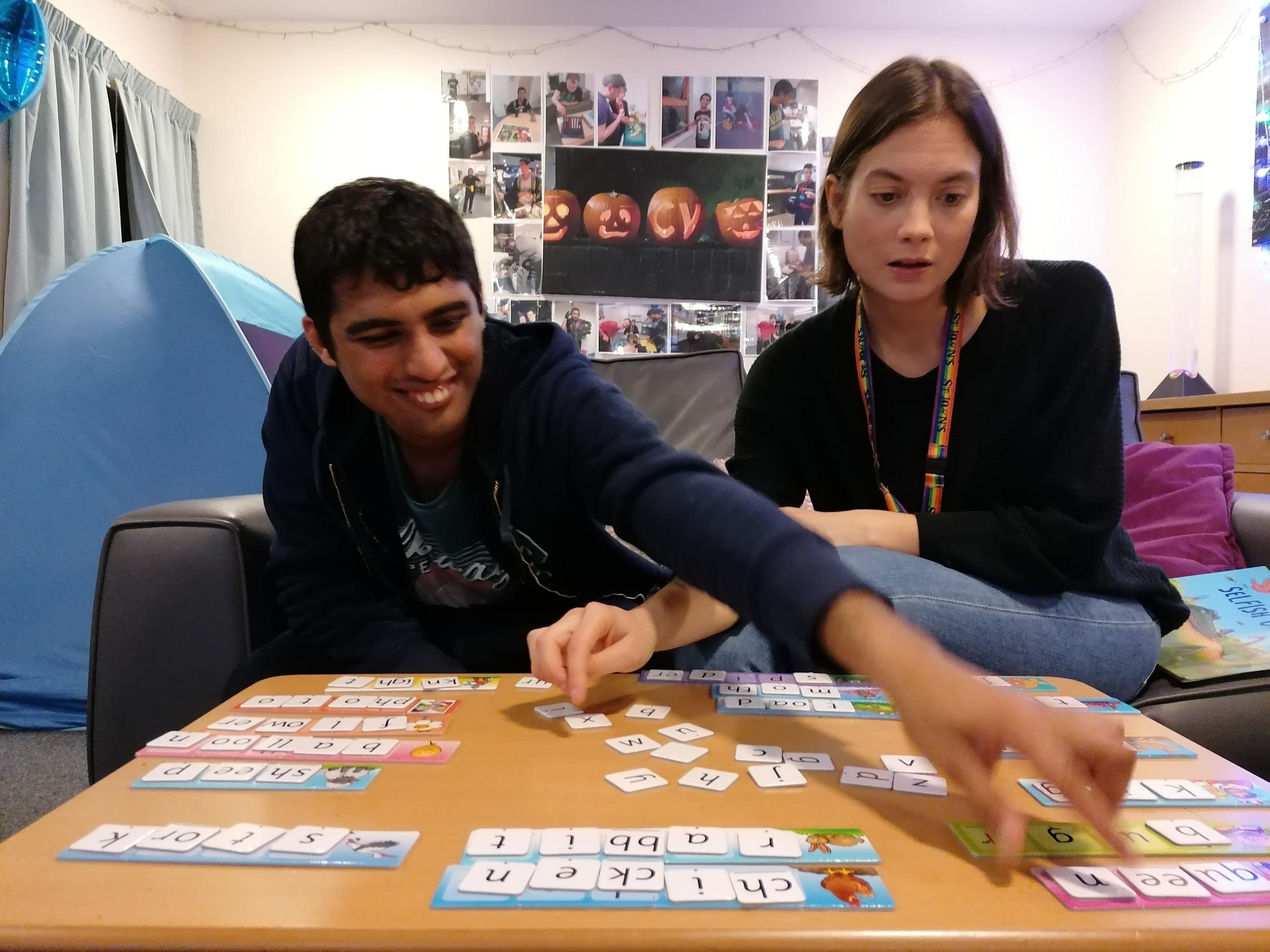 Student playing a number game